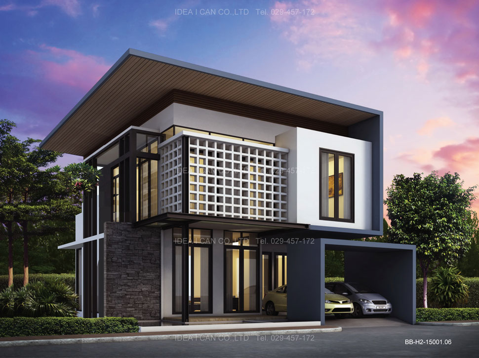 Bb h2 modern style 150 2 for Small house design thailand